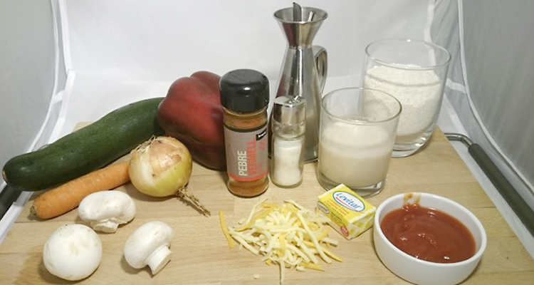 Ingredients pizza de verdures